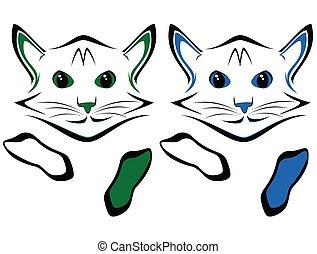 猫, 白的背景, 描述