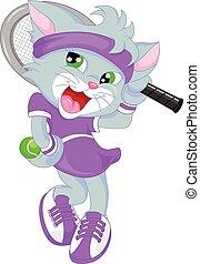 猫, 网球, 漂亮