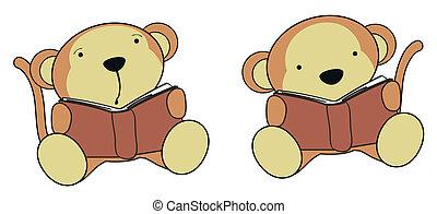 猴子, 嬰孩, 卡通, 閱讀, 集合