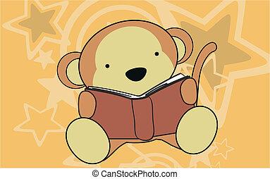猴子, 嬰孩, 閱讀, 卡通, wallpap