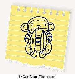 猴子, 玩具, 心不在焉地亂寫亂畫