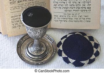 猶太教, skullcap, -, 書, kiddush, 禱告