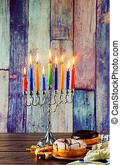 猶太的假日, hannukah, 符號, -, 大燭台, 多福餅, chockolate, 硬幣, 以及, 木制,...