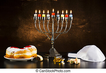 猶太的假日, hanukkah, 由于, 大燭台, torah, donuts, 以及, 木制, dreidels