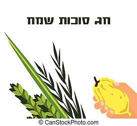 猶太的假日, sukkot., lulav, arava, 以及, hadas., 四, 种類, 符號, 日期手掌, 香櫞, 柳樹, myrtle.