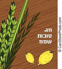 猶太的假日, sukkot., lulav, etrog, arava, 以及, hadas., 四, 种類, 符號, 日期手掌, 香櫞, 柳樹, myrtle.