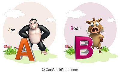 猿, 以及, 野豬, 由于, alphabate