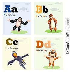 猿, 熊, 烏鴉, 以及, 狗, 由于, alphabate