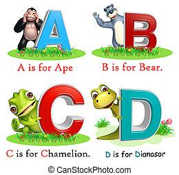 猿, 熊, chamelion, 以及, dinasour, 由于, alphabate