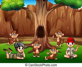 猿, 男の子, 木, 下に, 弛緩, 女の子
