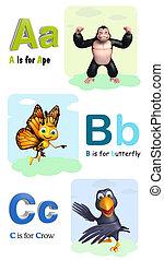 猿, 蝴蝶, 以及, 烏鴉, 由于, alphabate