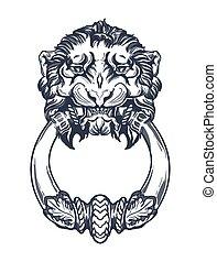 獅子, 頭, 門, knocker., 手, 畫, 矢量, 插圖, 被隔离