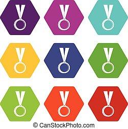 獎章, 圖象, 集合, 顏色, hexahedron