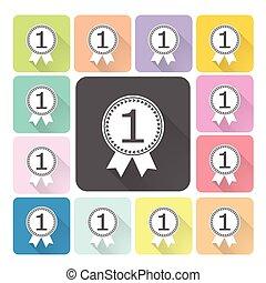 獎章, 圖象, 顏色, 集合, 矢量, 插圖