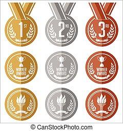 獎章, 銀, 青銅, 金