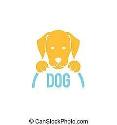 獣医, 犬, 印, ベクトル, clinic., logo.