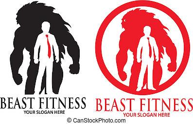 獣, ロゴ, フィットネス, マスコット