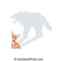 獣, 影, 隔離された, わずかしか, 漫画, 犬, 白, かわいい, 恐ろしい, 持つこと, 背景