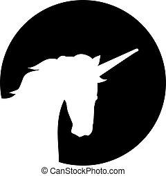獨角獸, 頭, 黑色半面畫像, 前面, 月亮