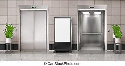 玄関, 広告板, スクリーン, オフィス, エレベーター