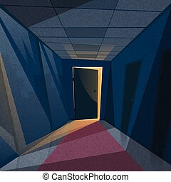 玄関, 部屋, オフィス, ライト, 暗い, 廊下, ドア