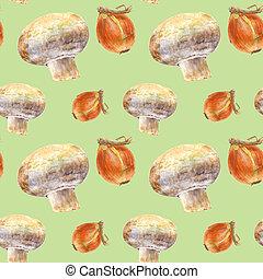 玉ねぎ, パターン, seamless, 水彩画, バックグラウンド。, champignon, 緑