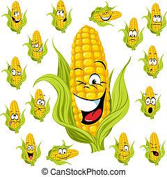 玉米, 甜, 卡通
