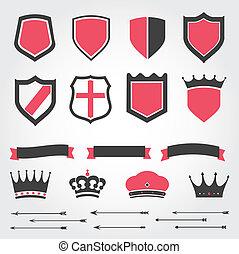 王冠, 保護, セット, ベクトル, heraldic