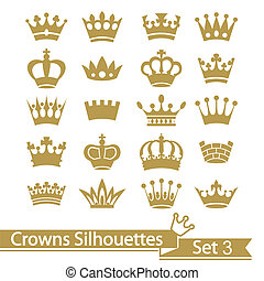 王冠, 彙整, -, 矢量, 黑色半面畫像