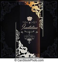 王冠, 渦巻, gold.eps, 優雅である, 贅沢, 招待, カード