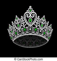 王冠, 結婚式, イラスト, 女らしい, 黒, コロナ, 背景, エメラルド