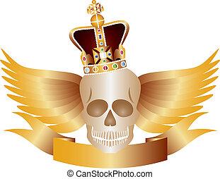王冠, 翼, 頭骨