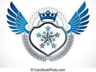 王冠, blazon, 作成される, 飛ぶ, heraldic, 花輪, 使うこと, emblem., pentagonal, ベクトル, 贅沢, 星, 君主, 月桂樹