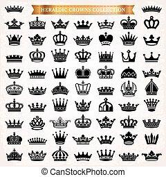 王冠, heraldic, セット, シルエット, アイコン