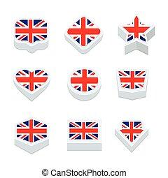 王国, スタイル, 合併した, アイコン, ボタン, セット, 旗, 9