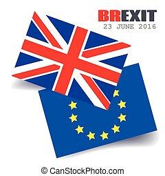 王国, 偉人, 合併した, brexit., 組合, flag., 旗, referendum., 英国, ベクトル, 出口, ヨーロッパ, イギリス, eu, europe., illustration.
