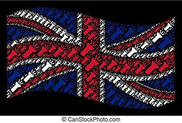 王国, 合併した, 電気である, コラージュ, ライト, トーチ, 揺れている旗, 項目