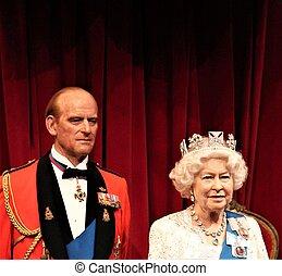 王国, 合併した, waxwork, 2017:, 数字, &, 女王, -, 博物館, ii, 2, ロンドン, ワックス, 肖像画, 3月, philip, ロンドン, 王子, 20, エリザベス