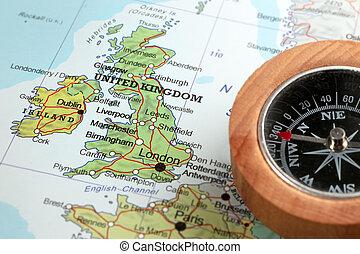 王国, 地図, 合併した, 旅行ディスティネーション, アイルランド, コンパス