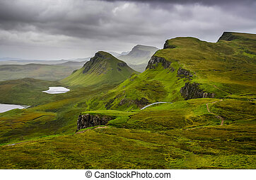 王国, 山, quiraing, 合併した, 景色, 空, skye, 劇的, スコットランドの高地, 島, 光景