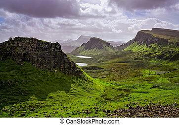 王国, 山, quiraing, 合併した, skye, スコットランドの高地, 島, 風景, 光景