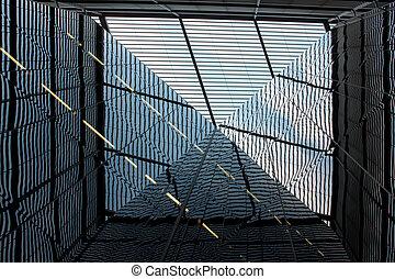 王国, 建物, 合併した, -, ロンドン, ガラス, ファサド, の間, 開いた, 日
