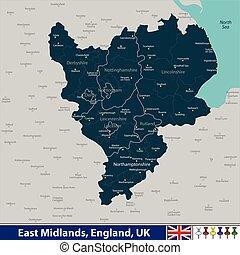 王国, 東, 合併した, midlands
