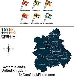 王国, 西, 合併した, midlands