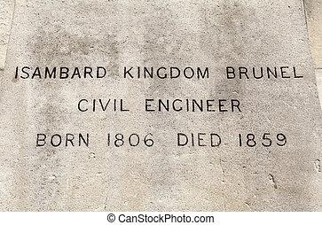 王国, brunel, 名前, isambard, ロンドン, 像, プラク