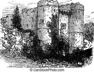 王国, (england), 合併した, 型, 彫版, wight, carisbrooke, 島, 城