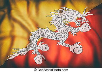 王國, ......的, 不丹旗, 招手