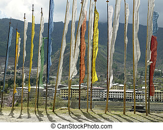 王國, ......的, 不丹, -, 禱告, 旗
