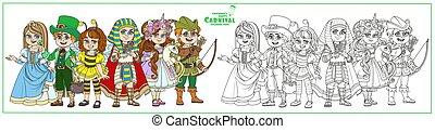 王女, エジプト人, 衣装, 着色, フード, 一角獣, ロビン, 蜂, カーニバル, leprechaun, 色, ページ, 概説された, 特徴, ファラオ, 子供
