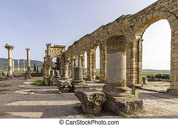 王宮, 古老, 城市, 連合國教科文組織, 站點, 羅馬, 考古學, volubilis, 遺產, 內部, 世界, 帝國